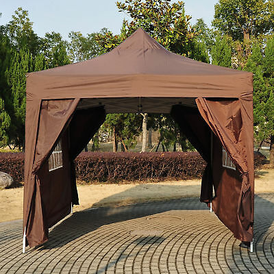 4.5x3m Garden  Pop Up Gazebo Marquee Party Tent Wedding Canopy Coffee Heavy Duty