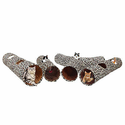 Cat Tunnel Leopard Print Design Kitten Cat CrinkleToy Tunnels Collapsible Tunnel