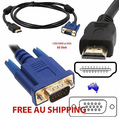 1.5M 1080P Gold Plated HDMI To VGA 15Pin Male Cable Lead Adapter For HDTV LCD AU