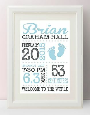 Personalised Baby Gift / Nursery print / Birth details. A4  (UNFRAMED)