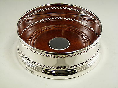 """NEW - Solid Silver - Large Wine Bottle Pierced Straight COASTER - 5"""" - Boxed"""