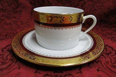 """Philippe Deshoulieres Marquis, Red Band, Gold Band: Cup and Saucer Set (s) 2.25"""""""