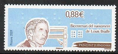 ANDORRA (FRENCH) MNH 2009 The 200th Anniversary of the Birth of Louis Braille