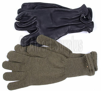 Army Gloves - Leather & Wool - New - Medium - 229Cx
