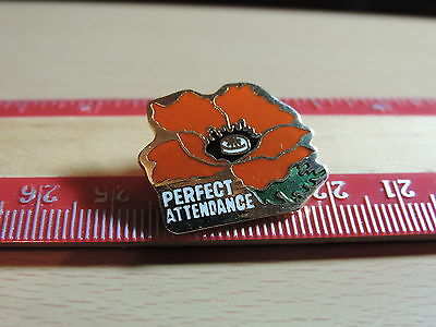Perfect Attendance Red Poppy Lapel Hat Pin 10E