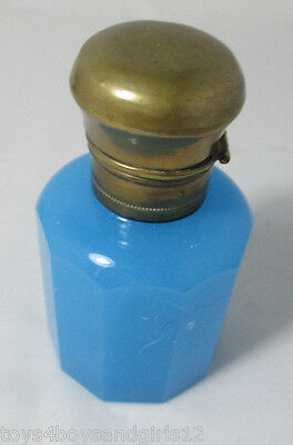 Opaline blue BOTTLE & STOPPER with BRASS LID; Antique Original c1899 ,France