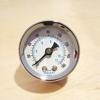 "Marshall 0-160 Psi & 11 Bar kPA Gauge Fuel Oil Pressure Gauge 1/8"" NPT DRY 1.5"""