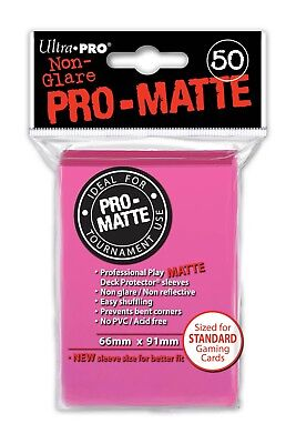 50x Bright Pink Matte Deck Protector Card Sleeves Pokemon MTG Sports + Ultra Pro