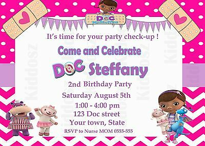 Doc McStuffins DISNEY personalized GIRLS BIRTHDAY PARTY Invitation 4 x 6 inches