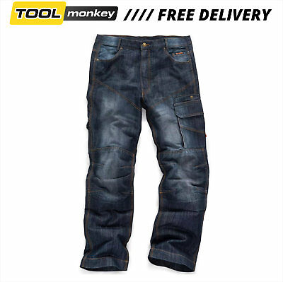 Scruffs Trade Denim Work Trousers Industrial Blue Jeans Loose Fit