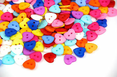 100 x Mixed Colours 2 Hole Heart 13mm Sew Craft Scrapbook DIY Plastic Buttons
