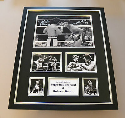 Sugar Ray Leonard & Roberto Duran Signed Photo Large Framed Boxing Display COA