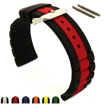 Silicone Rubber Waterproof Watch Strap Band FORTE SS. Buckle Spring Bars