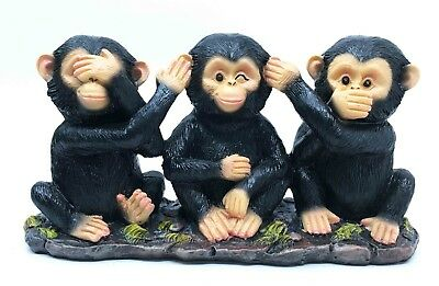 Three Monkey Brothers See Hear Speak No Evil Monks Figurine Ape Chimps Statue