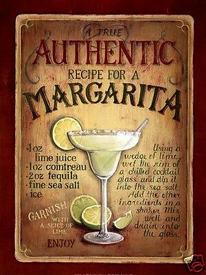 VINTAGE STYLE RETRO METAL PLAQUE : MARGARITA COCKTAIL 290 x 210 mm Sales/Ad SIGN