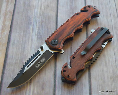 8 Inch Overall Tacforce Pakkawood Handle Tactical Rescue Knife With Pocket Clip