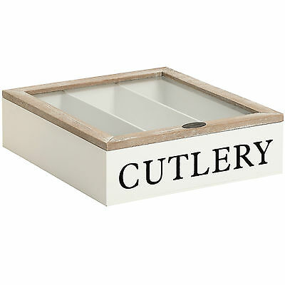 SHABBY Wooden Chic Country Cutlery Storage Box Tray Kitchen Drawer