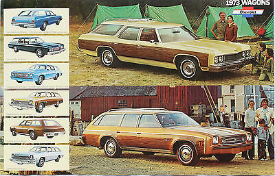 "1973 Chevrolet Station Wagon Sales Brochure Poster 73 Chevy Chevelle 11""x17"""