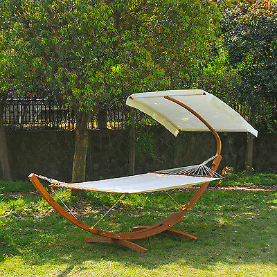 Outsunny Wooden Outdoor Garden 2 Person Double Hammock Bed Swing Cotton Canopy