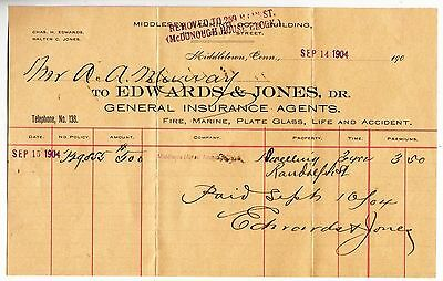 [57330] 1904 Policy Notice Edwards & Jones Insure Agents Middletown, Connecticut