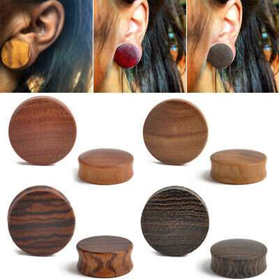 1Pair 8-30mm Wood Double Flared Saddle Ear Plugs Gauges Tunnel Ear Piercings