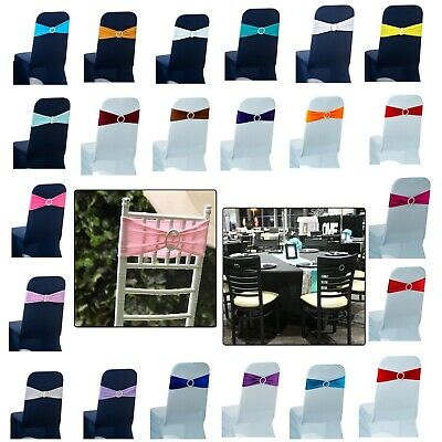 100pcs Lycra Spandex Chair Band with Diamante Buckle Chair Covers Wedding Decor