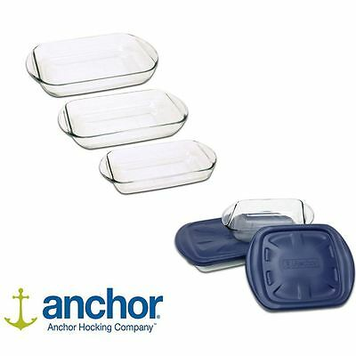 Anchor 3 or 4 piece Glass Baking Cooking Roasting oven Dish Set with lids