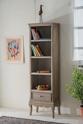 Bourdeilles Slim Bookcase Display Cabinet Solid Shabby Chic in Mango Free Del!