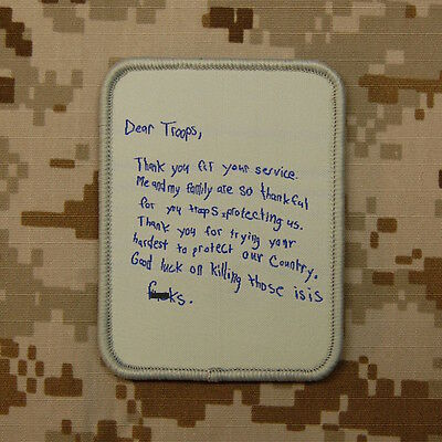 Dear Troops Letter Morale Patch Thank You For Your Service VELCRO® Hook & Loop
