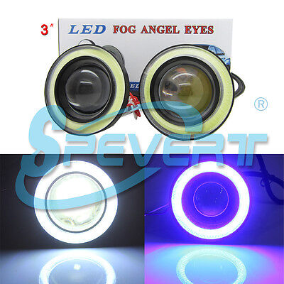 "3"" 76mm Car LED COB Feux De Brouillard Lampe Projector Lens DRL Angel Eyes Kit"