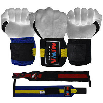 AQWA Weight Lifting Wrist Wraps Heavy Powerlifting Gym Support Straps Bandages
