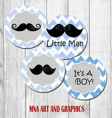 Mustache baby shower PRECUT - baby boy baby shower IMAGES CUP CAKE TOPPER 2 inch