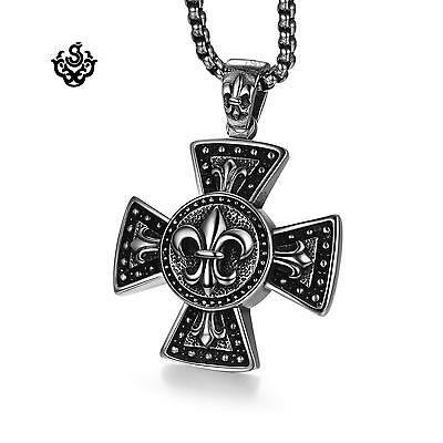 Silver fleur-de-lis cross round big pendant hollow back stainless steel necklace