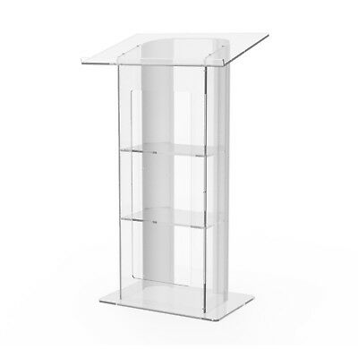 Clear Acrylic Plexiglass Podium Curved Aluminum Sides Pulpit Lectern 14307