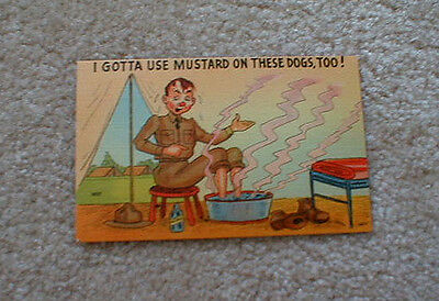 "WW2> ""I Gotta Use Mustard on These Dogs, Too!"" - Cartoon POSTCARD"