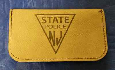 Njsp new jersey state police black leather hard case business card njsp new jersey state police 45 dark brown leather business card holder reheart Gallery