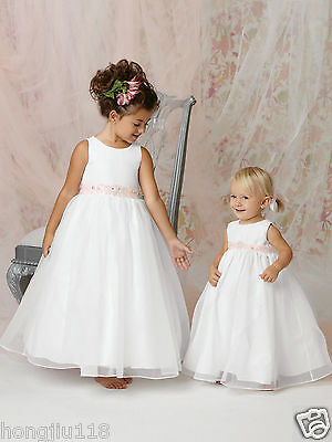 Flower Girl Dress Party Formal Christening Baptism Wedding Bridesmaid Prom