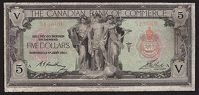 *** Canada 1917, $5 Canadian Bank of Commerce, CH-75-16-04-02, F/VF ***