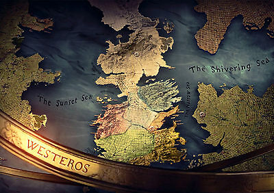 Sticker Autocollant Poster A4 Serie Games Of Thrones Map Westeros.