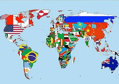 Sticker Autocollant Poster A4 Map Monde Map World All Country Tous Les Pays.