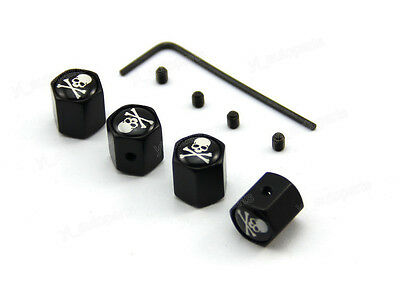 Anti-Theft Tire Stem Air Dust Valve Caps Lock Screw Pirate Death Skull Crossbone