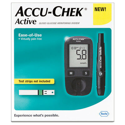 Glucometer Accu-Chek Active Roche + New 110 Test Strips Sealed Diabetes by Roche