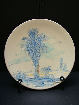 """Catalina Island Palm Grove Plate Decorated by Roger """"Bud"""" Upton"""