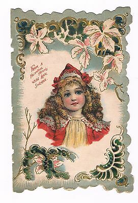 c1900 Victorian Greeting Card - Beautiful Girl with Flowers