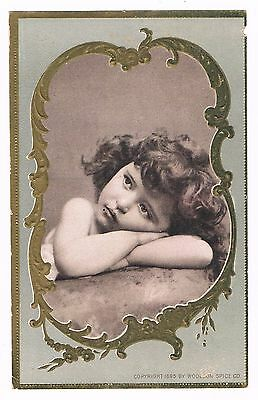 """1895 WOOLSON SPICE CO Victorian Trade Card """"Meditation"""" Print Offer"""
