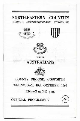 1966 - North-Eastern Counties v Australia, Touring Match Programme.