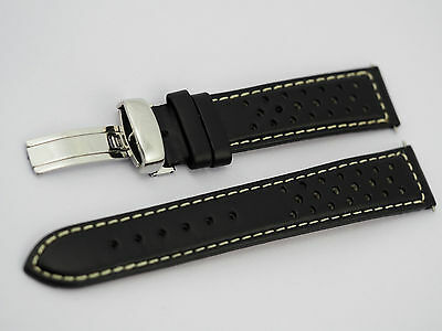 Genuine leather watch strap, band 20mm black perforated deployment clasp NO LOGO