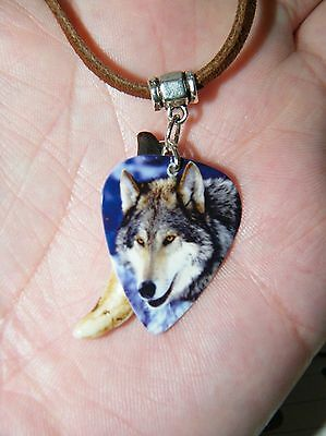 "WOLF Necklace & GENUINE Coyote Tooth 32"" Brown Leather Cord Wolf Pick Choker NEW"