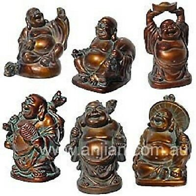 Box of 6 Laughing Buddha Statues Antique Brass Finish 57mm (LB011A)