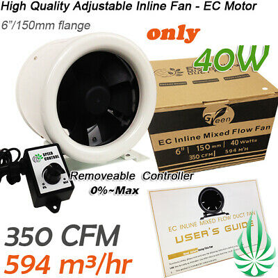 New 30W 6inch Hydroponics Mixed Flow Inline DuctFan 300CFM With Speed Controller